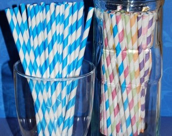 """25 Blue and white barber striped paper drinking straws - with FREE blank Flags / Pendants. See also - """"Personalized"""" flags option."""
