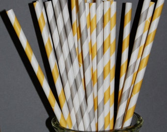 "100 yellow and grey barber striped paper drinking straws - with FREE blank Flags / Pendants. See also - ""Personalized"" flags option."