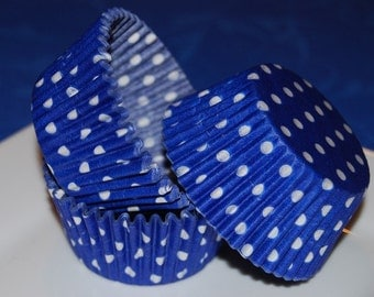 cupcake liners 50 count - Blue polka dot cup cake liners, baking cups, muffin cups, standard size, grease proof cupcake