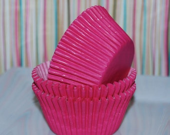 cupcake liners (50) count - bright pink solid cup cake liners, baking cups, muffin cups, standard size, grease proof