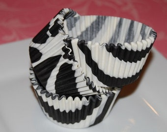 50 count - Black Zebra Stripe cup cake liners, baking cups, muffin cups, cupcake standard size, grease proof