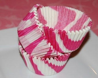 50 count - Hot Pink Zebra Stripe cup cake liners, baking cups, muffin cups, cupcake standard size, grease proof