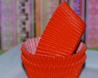cupcake liners (50) count - Red solid cup cake liners, baking cups, muffin cups, standard size, grease proof