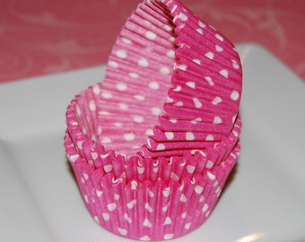 50 count - pink polka dot cup cake liners, baking cups, muffin cups, grease proof standard size cupcake