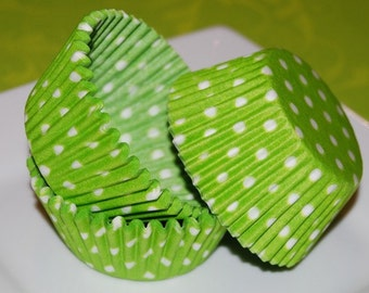50 count - lime green polka dot cup cake liners, baking cups, muffin cups standard size, grease proof