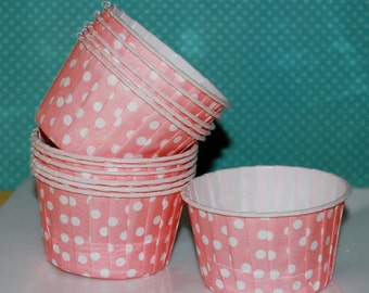 Coral Pink Polka Dot Candy Cups  Nut cups  Baking cups cupcake liners or muffin cups  Icecream cup  dessert cups - (48) count