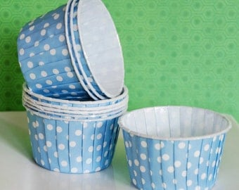 Light blue polka dot  Candy Cups Nut cups  Baking cups cupcake liners or muffin cups  Ice cream cup  dessert cups  - (24) count