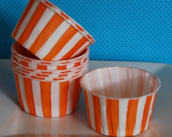 Orange Stripe Candy Cups  Nut cups  Baking  cups cupcake liners or muffin cups  Ice cream cup  dessert cups - (24) count