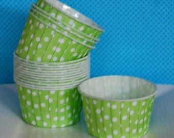 Cupcake cups - Lime Green Polka Dot Candy Cups  Nut cups  Baking cups cupcake liners or muffin cups  Icecream cup  dessert cups - (24) count