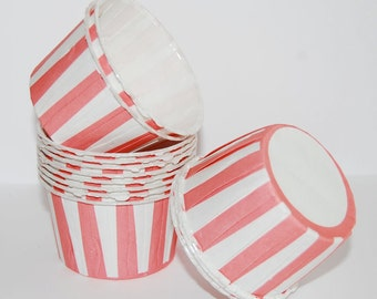 Candy Cups - Coral Pink Stripe Baking cupcake liners grease proof muffin cups Candy cup nut Ice cream treat dessert portion cups (24) count