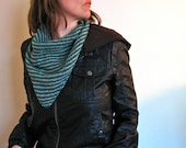 Hand Knit Bandana, Teal Tan Striped Triangular Scarf Kerchief