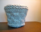 Rustic Cabled Plant Pot Cozy, Textural Ivory Houseplant Cover