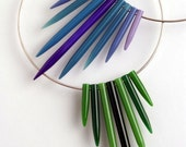 Green choker, sterling silver with vintage plastic knitting needles