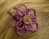 Beaded Button Flower Hair Clip