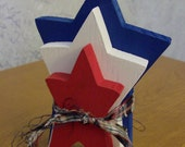 Stacked Americana Wood Shelf Star Set Red White and Blue