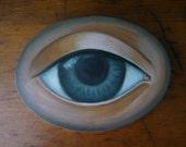 Grey Eye Oil Painting on Wood Panel with 16 Karat Gold Leaf Edges