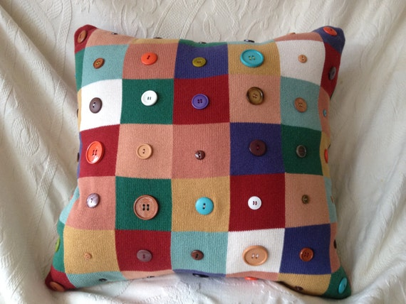Upcycled Multi-Color Sweater Button Pillow