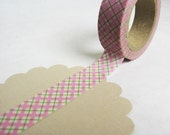 Light Pink Plaid Japanese Washi Tape, Plaid Washi Tape