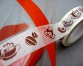Java Coffee Washi Paper Tape, Coffee Bean Japanese Washi Tape