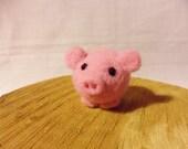 Needle Felted Pig -  miniature bald pig figure - 100% merino wool - Pig With Attitude
