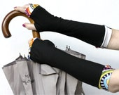 Black Arm Warmers / Fingerless Gloves: Rainbow, Violet, blue, green, yellow, pink, orange,red, running, cycling, fashion sleeves