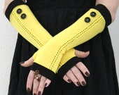 Kill Bill - Yellow Arm Warmers  /  Fingerless gloves  wiht black edges and black buttons - Wedding Gothic Steampunk  Alice  Chic Classic Red
