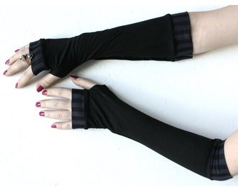 Very soft black  striped stretch fingerless gloves mittens
