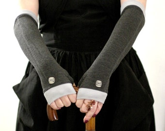 Elegant grey  with a light grey edges and beautiful vintage buttons  fingerless gloves  -  Wedding Gothic Steampunk  Alice   Chic Classic