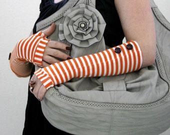 White and orange  stripes fingerless gloves arm warmers with dark purple vintage buttons - gothic victorian gift vintage summer mittens cuff