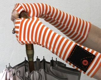 SALE Black and orange  striped Arm Warmers Fingerless Gloves with orange buttons - gothic victorian  steampunk Mittens