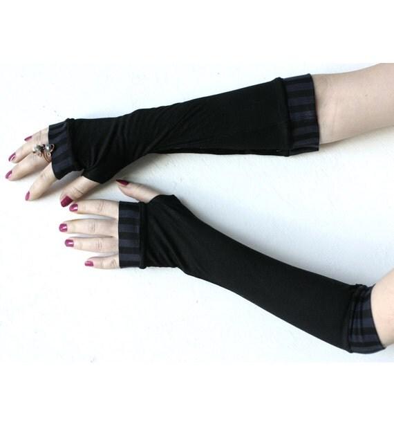 Very soft black  striped stretch fingerless gloves mittens