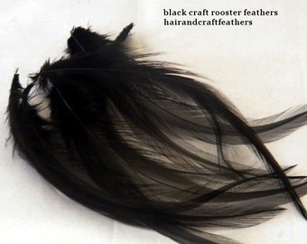 Craft Feathers - Black Craft Feathers - Hackle Craft Feathers