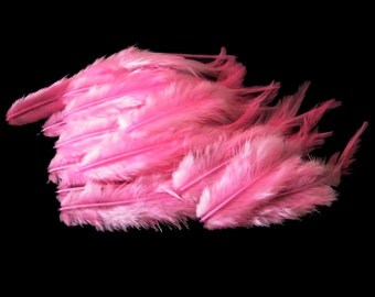 Craft Feathers - Hot Pink Craft Feathers - 2 to 4 inches long Vibrant Hot Pink  qty 12