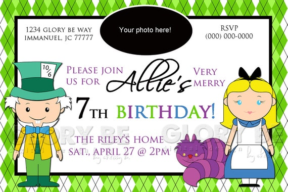 Alice, Cheshire & Mad Hatter themed Birthday Invite--Ready to Print