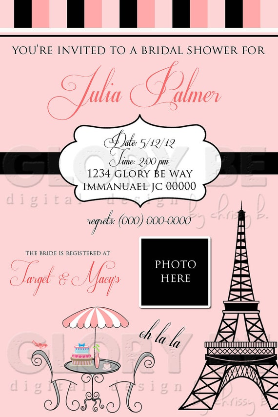 Paris Themed Bridal Shower Personalized Invite--Ready to Print