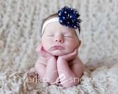 Baby Headbands - Newborn Headband - Baby Girl Headband - Navy and White Chiffon Flower Headband - Baby Headband - Photography Prop
