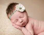 Baby Girl Headbands - Baby Headbands - Burlap Flower Headband - Newborn Headbands - Baby Bow Headband