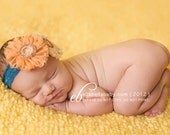 Baby Girl Headband - Newborn Headband - Peach Flower Headband - Baby Bow Headband - Infant headband - Baby Headbands