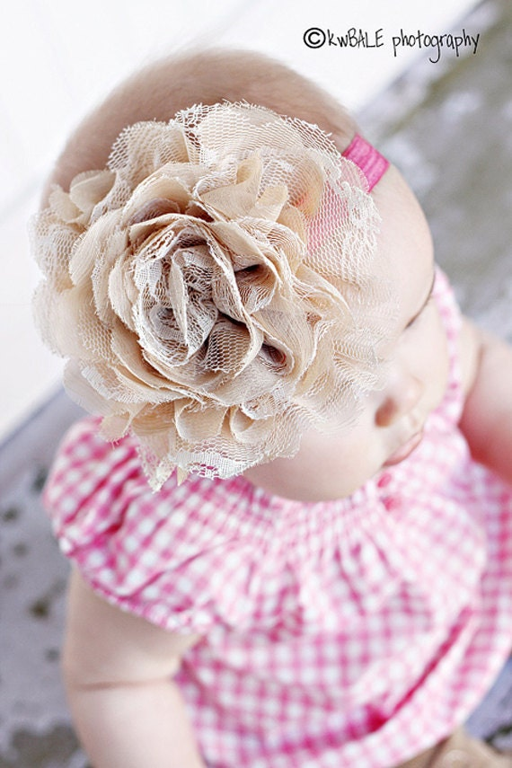 Baby Girl Headbands - Newborn Headband - Nude Flower - Vintage Headband - Antique flower - Baby Headband - Infant Baby Toddler Girl