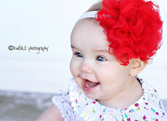 Baby Headbands - Newborn Headband - Large Red Flower Headband - Baby Girl Headband - Baby Bow Headband