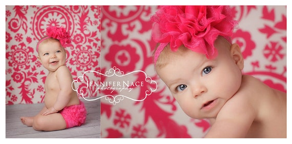 Baby Girl Headband - Hot Pink Lace Fabric Headband - Newborn Headband - Baby Headband - Couture Headband - Fabric Flower Headband
