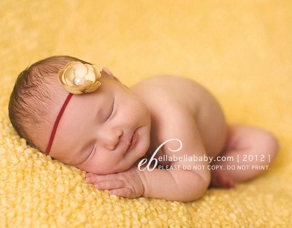 Newborn Headband - Baby Headband - Flower headband - Petite Tan Flower on Skinny Headband