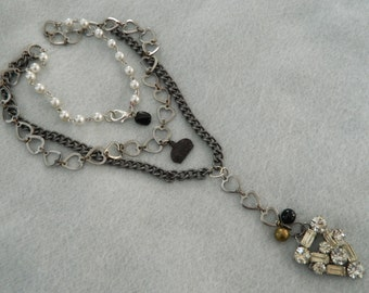 Pendant Assemblage Necklace Rhinestone