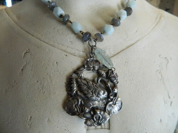 RESERVED - Assemblage Necklace Pewter Swan Amazonite Stones