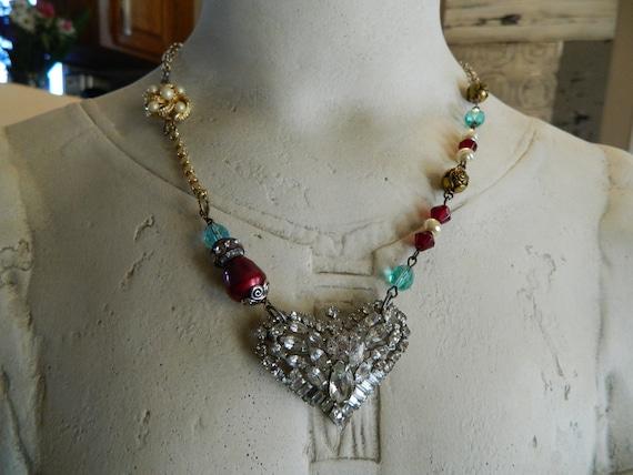Vintage Kramer Rhinestone Assemblage Necklace