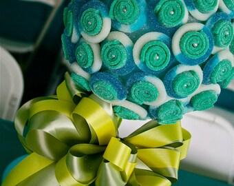 Blue Green Sour Belt Candy Land Centerpiece Topiary Tree, Candy Buffet Decor Arrangement Wedding, Mitzvah, Party Favor, Edible Art