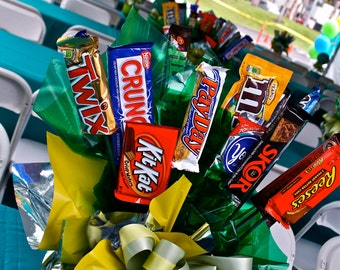 Chocolate Bars Candy Bouquet  Centerpiece, Candy Buffet Decor, Candy Arrangement Wedding, Mitzvah, Party Favor, Candy Creation
