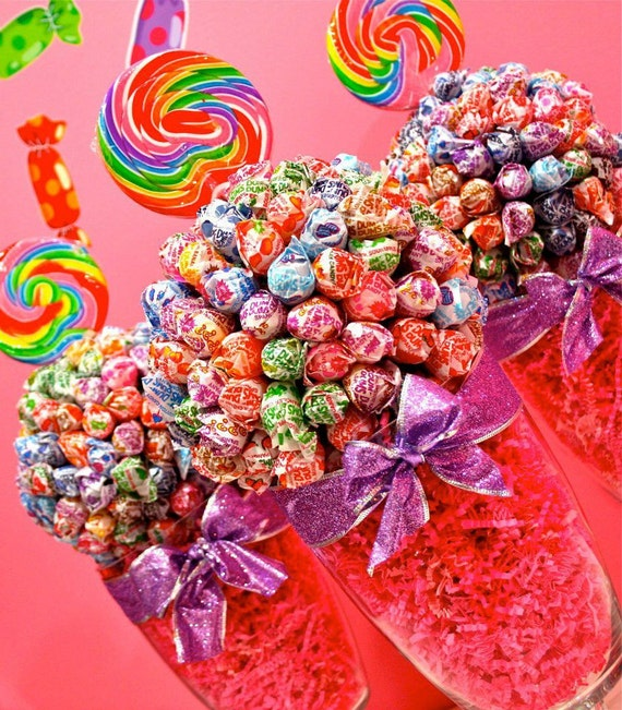 Dum Dum Lollipop Sucker Candy Land Centerpiece Vase, Candy Buffet Decor, Candy Arrangement Wedding, Mitzvah, Party Favor, Candy Creation