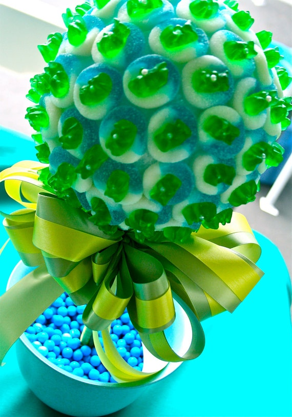 Blue Green Gummy Bear Candy Land Centerpiece Topiary Tree