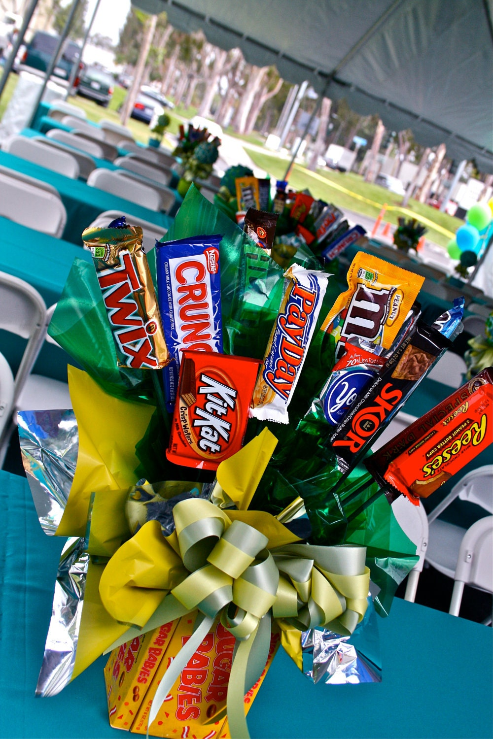 Chocolate bars candy bouquet centerpiece buffet decor